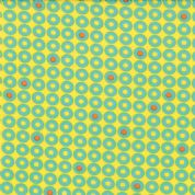 Moda Sphere by Zen Chic - 3182 - Turquoise Dots and Circles on Yellow - 1546 22 - Cotton Fabric